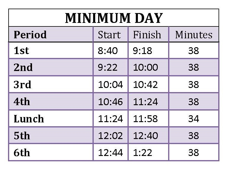 miniumum day schedule