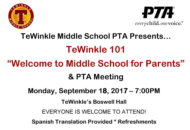 PTA Meeting Sept 18