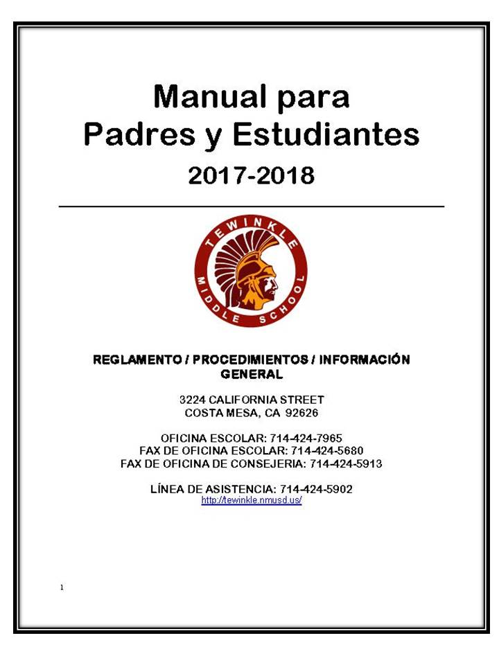 parent student handbook spanish